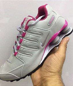 Nike Shox NZ 4 molas Cinza e rosa