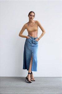 Saia Jeans Midi Fenda