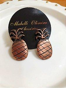 Brinco pequeno abacaxi bronze