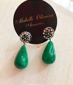 Brinco pedra jade verde