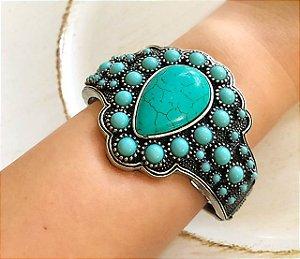 Bracelete turquesa pedras natural