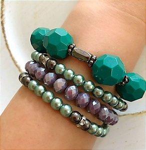 Kit pulseira resina verde