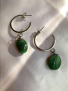 Mini argola pedra natural Jade verde