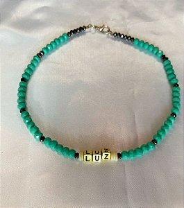 Chocker cristais azul turquesa LUZ