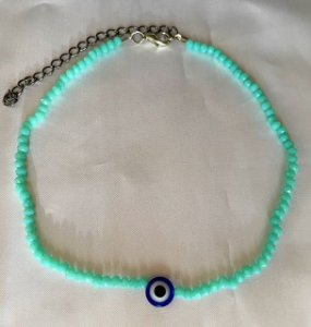 Chocker cristal azul turquesa pingente olho grego