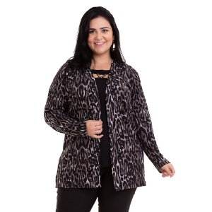 Cardigan Feminino Animal Print Plus Size