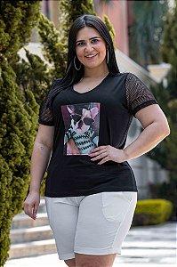Blusa Feminina Plus Size Bulldog Manga Curta