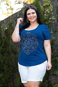 Blusa Feminina Plus Size Gola Redonda Mandala Blue