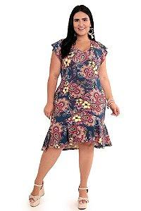 Vestido Feminino Floral Babado Plus Size