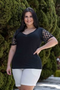 Blusa Feminina Plus Size Laser Black
