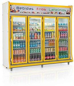 Refrigerador Vertical Auto Serviço Bebidas, Frios e Laticínios 4 Portas GELOPAR GEVP-4P