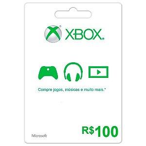 Cartão Presente Xbox Live BR Xbox R$100,00