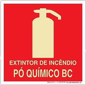 Placa Sinalização de Emergência - Fotoluminescente - Extintor de incêndio pó quimico BC