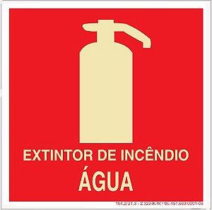 Placa Sinalização de Emergência - Fotoluminescente - Extintor de incêndio Água