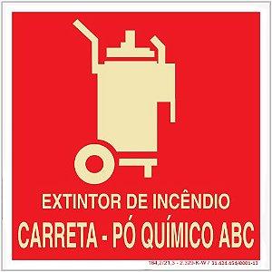 Placa Sinalização de Emergência - Fotoluminescente - Extintor de incêndio CO² - Pó Quimico ABC