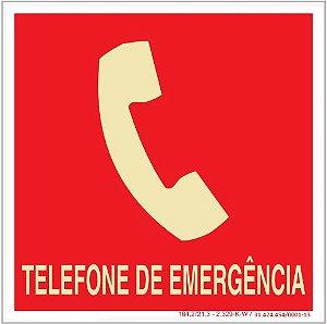Placa Sinalização de Emergência - Fotoluminescente - Telefone de Emergência