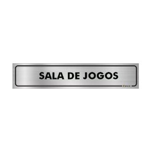 Placa Identificação - Sala de Jogos - Aluminio