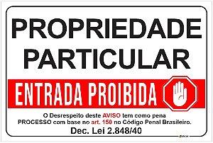Placa Aviso - Propriedade Particular