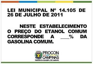 Placa Preço Etanol Lei Municipal 14.104/2011