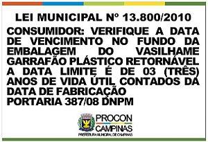 Placa - Verifique a data de validade - Lei Municipal 13.800/2010