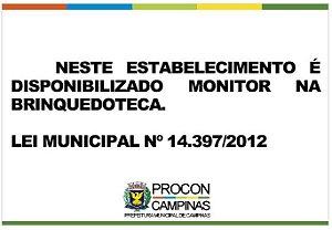 Placa - Brinquedoteca - Lei Municipal 14.397/2012