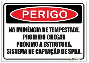 Placa - Perigo - Sistema SPDA