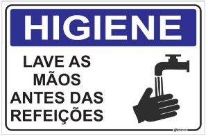 Placa Higiene - Lave as Mãos Antes das Refeições
