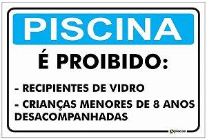 Placa Aviso - Piscina - É Proibido...