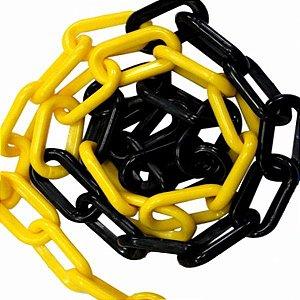 Corrente Plástica Zebrada Amarela e Preta Elo Grande