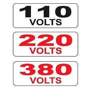 Cartela de Etiqueta de Identificação de Voltagem 110V, 220V ou 380V