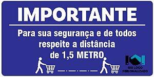 Adesivo - Mantenha Distância de 1,5m - Supermercados - COVID-19