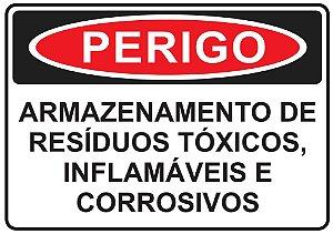 Placa - PERIGO - Armazenamento de Resíduos Tóxicos, inflamáveis e corrosivos