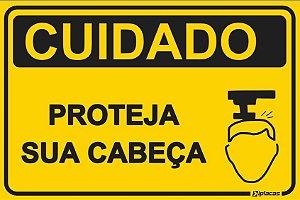 Placa - CUIDADO - Proteja sua Cabeça