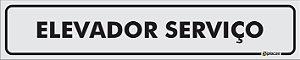 Placa Identificação - Elevador Serviço - 25x5cm