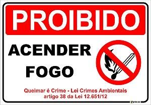 Placa - Proibido - Acender Fogo - Queimar é Crime