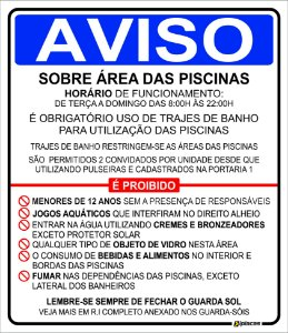 Placa - Aviso - Sobre Área das Piscinas
