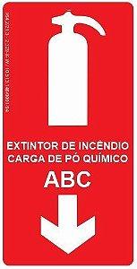 Placa Fotoluminescente - Extintor de Incêndio - Carga de Pó Químico ABC