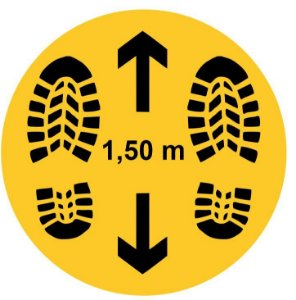 Mantenha Distância Segura de 2m Pegada - Redondo 30cm - COVID-19