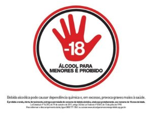Placa Proibido Álcool Para Menores de  18 anos - Lei Estadual SP 14.592 - 30x20cm