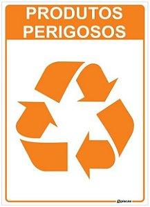 Placa Material Reciclável - Produtos Perigosos