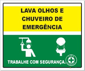 Placa - Lava Olhos e Chuveiro de Emergência