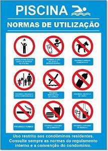 Placa - Normas de Utilização Piscina
