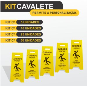 Kit Cavalete em PS - Piso Molhado