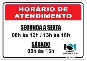 Placa - Horário de Atendimento - Vermelha