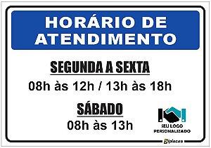 Placa - Horário de Atendimento - Azul