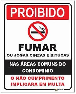 Placa - Proibido Fumar - Nas áreas comuns do condomínio
