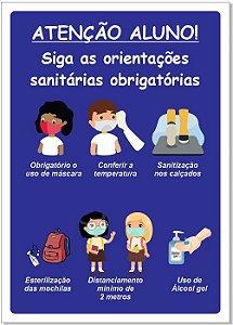 Placa - Atenção Alunos Orientações Sanitárias