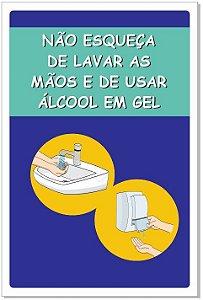 Placa - Alerta para Lavar as Mãos e Usar Álcool em Gel