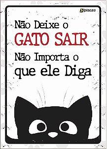 Placa Aviso - Não deixe seu Gato Sair