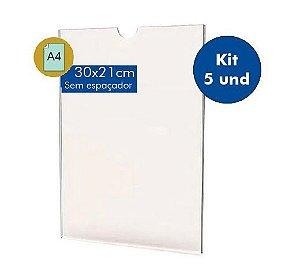 Kit DIsplay Porta Folha A4 em acrílico com 5Und